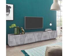 Ahd Amazing Home Design - Meuble TV de salon 6 portes 3 pièces design moderne Ping Low Concrete XL