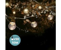 Guirlande Guinguette 50M Transparent - Guirlande Lumineuse Exterieure 50 Bulbes Transparents