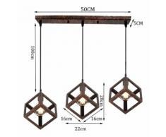 Rétro Industrielle Lustre Suspension 3 x Lampes Lampe de Plafond Corde à Suspendre Rouille