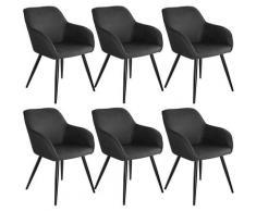 Tectake - Lot de 6 chaises tissu MARILYN - Chaise, chaise de salle à manger, chaise de salon