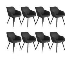 Tectake - Lot de 8 chaises tissu MARILYN - Chaise, chaise de salle à manger, chaise de salon