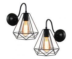 2x Rétro Applique Industrielle Interieur Cage Diamant 20cm E27 Noir, Applique Murale Lampe
