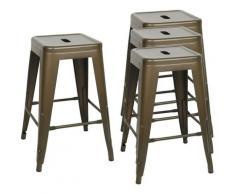 DazHom® 4 pièces de 61 * 40 * 40cm chaise haute empilable couleur rouille peinture mate