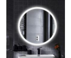 ®MIROIR DE SALLE DE BAIN ROND LED MODERNE Anti-buée blanc froid 70*70*4.5cm 35mm - Wyctin