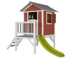Lodge XL Playhouse rouge: Maisonnette pour enfants, fenêtres intégrées et bois très résistant