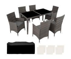 Salon de Jardin 6 Places avec 1 Table à manger en Résine Tressée et Aluminium Gris