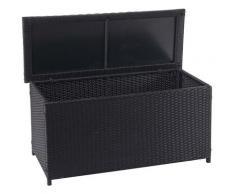 Coffre à coussins en polyrotin, HHG-570, coffre jardin ~ Basic noir, 63x135x52 cm, 320l