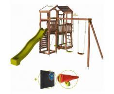 Aire de jeux pour enfant 2 tours avec portique et mur d'escalade - FUNNY Big Climbing Kit