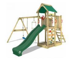 Aire de jeux WICKEY MultiFlyer Portique de jeux en bois Tour d'escalade avec balançoire, toboggan