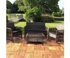 Meubles en osier jardin, Lounge quadripartite, groupe de table et chaises, meubles de jardin salon