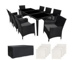 Salon de Jardin MONACO Résine Tressée 8 Personnes 8 Fauteuils 1 Table + 1 Housse Noir