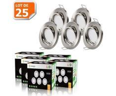 LOT DE 25 SPOT LED ENCASTRABLE COMPLETE ORIENTABLE ALU BROSSE AVEC AMPOULE GU10 230V eq. 50W, BLANC