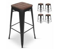 Lot de 4 Tabourets de bar en métal noir mat et assise en bois foncé, Tabouret métal et bois haut