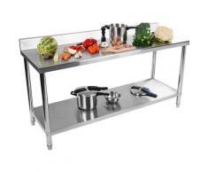 Royal Catering - Table Adossée Inox Avec Étagère Professionnelle Plan De Travail 180*60 cm 170 kg