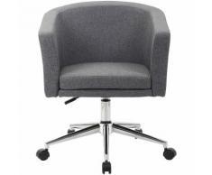 Chaise pivotante Lewis - roulettes et habillage tissu, gris