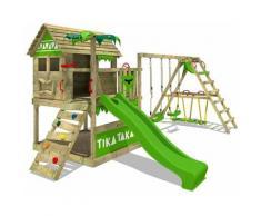 FATMOOSE Aire de jeux Portique bois TikaTaka avec balançoire SurfSwing et toboggan vert pomme