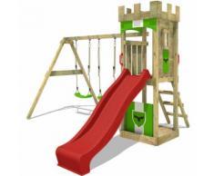 Aire de jeux Portique bois TreasureTower avec balançoire et toboggan rouge Maison enfant exterieur