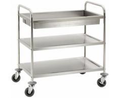 Chariot de service cuisine design professionnel inox 2 étages + 1 bac max 120 kg