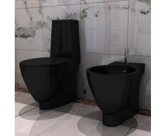 Vidaxl - Set de cuvette et bidet céramique Noir