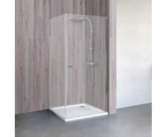Porte de douche pivotante + paroi de retour, verre 5 mm, profilé aspect chromé, Schulte, 80 x 100 x