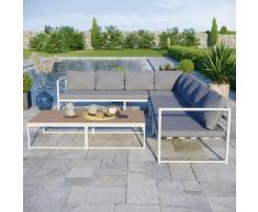 Salon modulable relevable de jardin en aluminium design convertible- Blanc Gris - TORINO - Gris