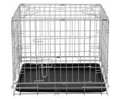 Cage pour chien 2 portes pliable en métal et transportable avec poignées 59/40/48 cm