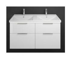 Burgbad Eqio double lavabo en céramique avec meuble sous-lavabo et vasque à LED éclairage SEZD123,