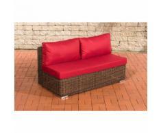 Canapé de 2 places élément de milieu Tessera rond/marron métallique Rouge rubin