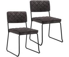 Décoshop26 - Lot de 2 chaises visiteur fauteuil salle à manger bureau en velours marron foncé