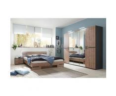 Pegane - Chambre à coucher complète adulte (lit 140 x 200 cm + 2 chevets+armoire) coloris effet