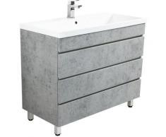 Meuble salle de bain Via 100 Aspect Béton à poser avec tiroirs sans poignées