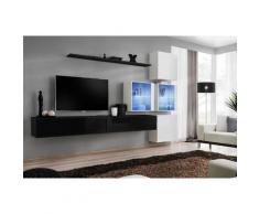 Ensemble meubles de salon SWITCH XIX design, coloris noir et blanc brillant. - Noir