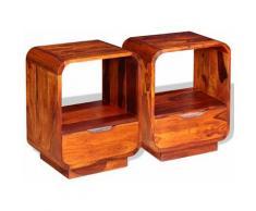 Helloshop26 - Table de nuit chevet commode armoire meuble chambre avec tiroir 2 pcs bois de sesham