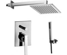 Paffoni -Solution de douche complète avec: pommeau de douche carré, mitigeur de douche encastrable