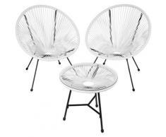 Tectake - 2 Fauteuils Acapulco et 1 Table de Jardin de Salon Design rétro Cadre en Acier Blanc
