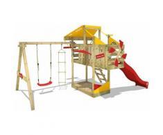 Aire de jeux Portique bois AirFlyer avec balançoire et toboggan rouge Cabane enfant exterieur avec