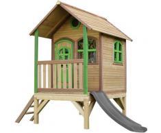 AXI Tom Maison Enfant avec Toboggan Gris | Aire de Jeux pour l'extérieur en Marron & Vert |