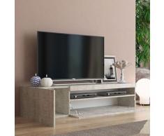Ahd Amazing Home Design - Meuble TV moderne avec porte et tiroir à rabat 150cm Daiquiri Concrete M