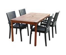 Salon de Jardin Lacio Bois Résine 1 Table à Manger et 4 Chaises - chillvert