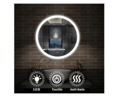 Aica Sanitaire - Miroir salle de bain anti-buée rond Mural Lumière Illumination avec éclairage LED