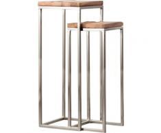 Made In Meubles - Lot de 2 sellettes bois et métal gris - Bois