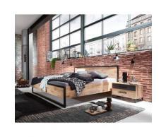 Lit futon adulte et 2 chevets Imitation chêne poutre rechampis raw steel - 160 x 200 cm -PEGANE-