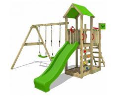 Aire de jeux Portique bois MagicMango avec balançoire et toboggan vert pomme Maison enfant
