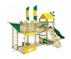 WICKEY Aire de jeux Portique bois Smart Wing avec balançoire et toboggan vert Cabane enfant