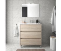 Meuble de salle de bain sur le sol 80 cm marron Caledonia avec lavabo en porcelaine | Avec colonne,
