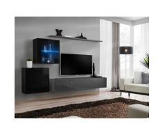 Ensemble meuble salon mural SWITCH XV design, coloris gris et noir brillant. - Gris