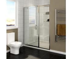 SIRHONA Cabine de douche 130 x 185 cm pivotante porte de douche avec étagère en verre