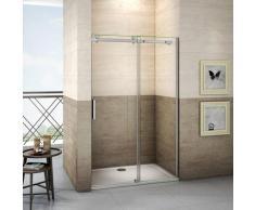 Porte de douche 160x195cm porte de douche coulissante installation en niche verre anticalcaire
