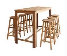 Table et tabourets de bar 7 pcs Bois d'acacia massif - True Deal