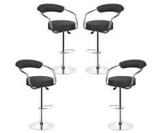 Lot de 4 Noir Tabourets de bar de cuisine imitation cuir chaise réglable en hauteur 55 à 75 cm